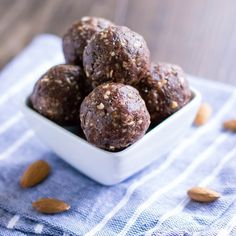 Chocolate Peanut Butter No Bake Energy Bites Recipe Desserts with whole almonds, dates, peanut butter, raw cacao powder, chia seeds, ground flaxseed