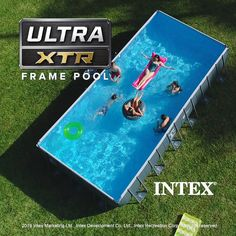 Intex Ultra XTR Frame Pool Premium, easy-to-setup above ground pools with various styles and sizes. Featuring Intex's Krystal Clear Sand Filter Pump and Hydro Aeration Technology. Above Ground Swimming Pools, Swimming Pools Backyard, Swimming Pool Designs, Pool Landscaping, In Ground Pools, Intex Above Ground Pools, Backyard Pool Designs, Small Backyard Pools, Doughboy Pool