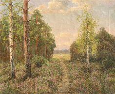 Wiktor KORECKI ,Wrzosowisko , olej, płótno, 43,5 x 53,5 cm
