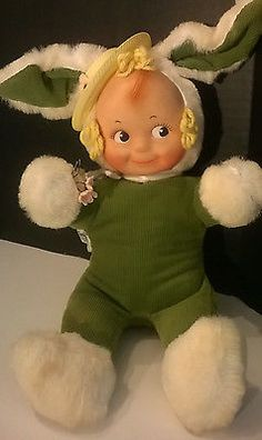 Vintage 50s Knickerbocker Kewpie Rubber Face Stuffed Plush Easter Bunny Toy Doll