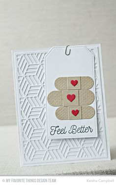 Feel Better Stamp Set, Band-Aides Die-namics, Star Grid Cover-Up Die-namics, Pierced Traditional Tag STAX Die-namics - Keisha Campbell #mftstamps