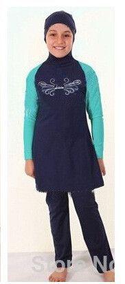 Young Girls Muslim Swimwear Junior Girls Swimsuit Islamic Clothing for Children Kids Beachwear Bathing Suit M-1839