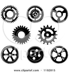 Clipart of a Black and White Gear Cog Wheels 4 - Royalty Free Vector Illustration by Seamartini Graphics