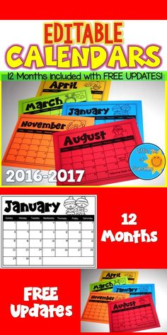 Keep your students AND parents informed this school year with these monthly EDITABLE CALENDARS! Each month can be edited to show days off, holidays, tests, or even when special projects are due. Print on white paper, then copy onto colored paper to send home. Months included are August 2016 - July 2017 THIS PRODUCT WILL HAVE FREE UPDATES FOR LIFE!  Every year I will update this product to include the correct dates for the following school year!
