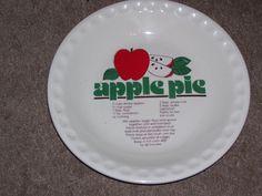 Ceramic Pie Plate w Apple Pie Recipe | eBay
