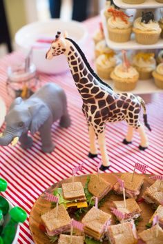 These plastic animals serve as great table decor and later become fun toys to play with! #socialcircus