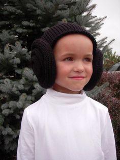 Knit Princess Leia Inspired Bun Hat, Wig, Costume, Black, Brown, Baby, Toddler, Children, Youth, Teen & Adult Sizes Star Wars Fan, Halloween...