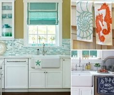 Coastal Kitchen Towels... http://www.completely-coastal.com/2016/09/coastal-kitchen-towels.html Find your coastal sea life and ocean theme kitchen towel to bring a pop of coast to your space!