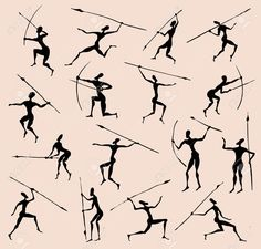 Cave Rock Painting Tribal People Silhouettes Set Royalty Free ...
