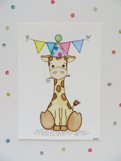 Watercolor painting, giraffe painting, nursery art, kids wall decor, baby shower gift on Etsy, $20.00
