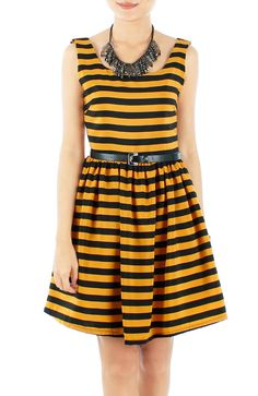 Mustard Yellow Party Stripe Flare Dress