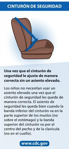 Mamás y papás: Asegurarse de que el cinturón de seguridad le quede bien al niño puede salvarle la vida al niño. Los niños no necesitan usar un asiento elevado una vez que el cinturón de seguridad les quede de manera correcta. En niños más grandes y adultos, el cinturón de seguridad reduce las lesiones graves a aproximadamente la mitad.  Si la banda inferior del cinturón le queda en el estómago o la banda superior le queda en el cuello el niño todavía necesita usar un asiento elevado. Teen Driver, Booster Car Seat, Injury Prevention, Motor Car, Scrubs, Car Seats, Booster Seats, Safety, Bands