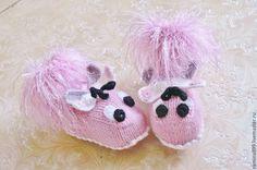 Купить Пинетки вязаные Розовые бабочки детские носочки полушерсть - пинетки для новорожденных, пинетки вязаные