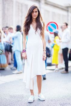 Loose Dress + Sneakers 15 Easy (And Stylish) Casual Summer Outfits via @WhoWhatWear