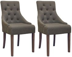 Details about SET of 2 High Quality Upholstered Scoop Back Dining