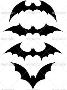 This simple set of Halloween icons includes 4 black flying bats.
