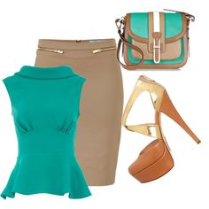 """Teal peplum and tan skirt"" by elizabethhorrell on Polyvore"