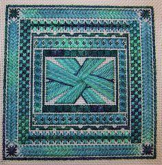 Green canvaswork (needlepoint) by Allisona, via Flickr