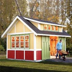 "From another pinner...""How to build a shed. Step by step instructions and materials list to make this awesome garden shed. maybe I could build this,change up a few things and make it into my chicken coop,lol. ya just never know!! Love these colors!"""