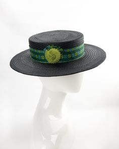 Black buntal straw boater. Wide-Brim Straw Hat with green cotton band and nautilus cockade. Summer fashion hat. Handmade by Silverhill Creative Millinery. #boaterhat #millinery Green Fur, Fedora Hat Women, Flapper Hat, Boater Hat, Nautilus, Summer Hats, Green Cotton, Grosgrain Ribbon, Rosettes