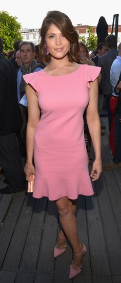 Best of Cannes, 2014 Casual Red Carpet ~ Gemma  Arterton's fresh Pink Frock, woth Pink pointed heels looks lovely seaside. #pink #frock #redcarpet #gemmaarterton #dress #pinkdress #pinkheels #pinkshoes @usatoday via @sunjayjk