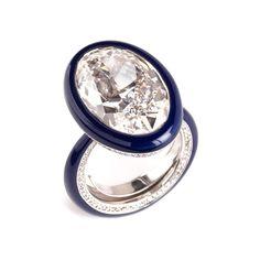 Glen Spiro diamond ring in blue ceramic