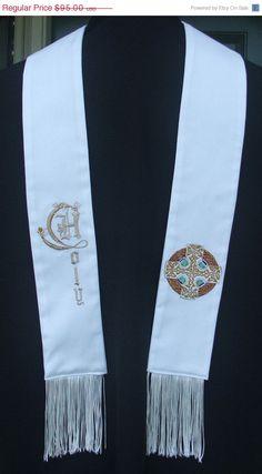 On Sale Clergy stole vestment White Chaplain by FaithThreads