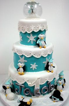 Penguin first birthday cake by Sweet Grace, Cake Designs.