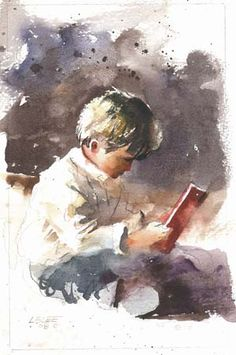 Reading Red Book BY Lester Lee....GREAT WATERCOLORIST