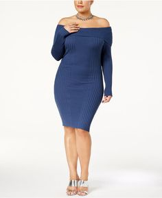 Plus Size Off-The-Shoulder Bodycon Dress #plussize #fashionaddict aff