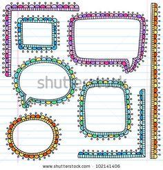 stock vector : Speech Bubble Frames Notebook Doodles- Back to School Hand Drawn Design Elements on Lined Sketchbook Paper Background- Vector Illustration