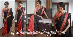 5000 black raw silk and red kalamkari saree with black, red semi brocade and mirror-work borders. Kalamkari Saree, Indian Textiles, New Pins, Desi, Custom Made, Hand Weaving, Yards, Silk, Elegant