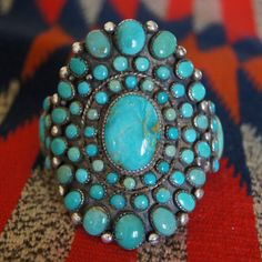Beautiful new Kingman turquoise cluster bracelet by Greg Thorne!