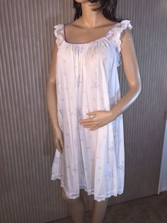 Vtg Claire Sandra By Lucie Ann Nylon Nightgown Small White W/ Lavender Flowers #LucieAnn