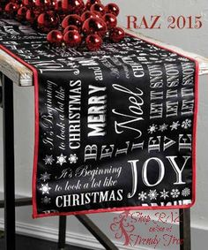 RAZ Jingle All The Way Black Christmas Message Table Runner. Put it on your Trendy Tree Wish List today!  #TrendyTree #RAZ
