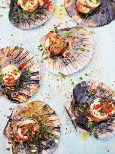15 Totally Brilliant Seafood BBQ recipes from Jamie Oliver - Pictured: DJ BBQ's scallops #Jamiespartymenus