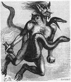 Aim/ Aym/ Haborym is a demon listed in grimoires such as the Goetia (Lesser Key of Solomon), the Dictionnaire Infernal, & Johann Wier's Pseudomonarchia daemonum. Fallen Angel, Metal Artwork, Bestiary, Occult, Demon, Beast, Mythology, Dark Art, Demonology