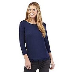 Nine by Savannah Miller - Blue lace hem jersey top