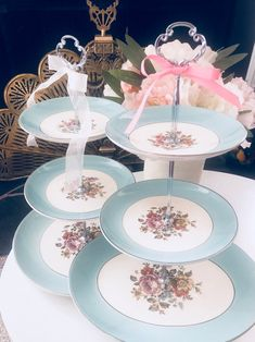 WEDDING CAKE STAND Turquoise Blue 3 Tier Serving Tray | Etsy Wedding Cake Stands, Unique Wedding Cakes, 3 Tier Serving Tray, Golden Decor, Blue Dishes, Soup Bowl Set, Antique Plates, Bridal Gifts, Dessert Table