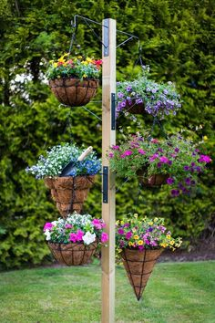 Do you want to grow herbs all year long? You can do it in your garden using hanging garden. Hanging garden is essential in a home, from supply when need herbs for cooking to beautifies your home. All of that can be achieved with hanging garden. Hanging Basket Garden, Hanging Flower Baskets, Diy Hanging, Hanging Gardens, Hanging Basket Stand, Hanging Plants On Fence, Hanging Pots, Diy Garden, Garden Projects