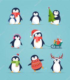 Скачать - Милые пингвины set - поздравления с Рождеством — стоковая иллюстрация #124067878