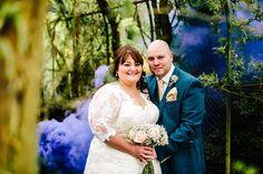 Floral Hall Wedding - Staffordshire WEdding Photography - Gemma & Dan-400 Bride & Groom - Smoke Grenade