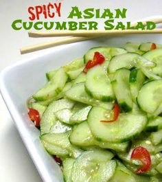 Asian Cucumber Salad~ 3/4 cup seasoned rice vinegar, 1/4 cup water, 1 tablespoon sugar, 1 tablespoon lite soy sauce (gf if need be), 1 teaspoon salt , 1 teaspoon sesame oil, 2 large cucumbers, peeled and sliced, 2 tablespoons sesame seeds, toasted, 2 fresh chili peppers, sliced (optional)