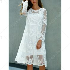 Long Sleeve Crochet Knee Length Lace Dress - WHITE ONE SIZE(FIT SIZE XS TO M)