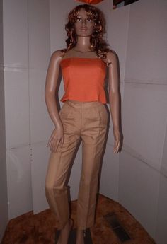 Kasper A.S.L. petite sz 4 pantsuit multi color linen blend lined sleeveless  #KasperASL #PantSuit