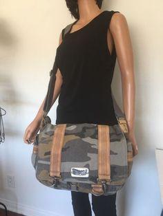 Fossil Messenger Pilot Bag Organizer Camouflage Army Military Designer  Fashion  38982decfe4a6