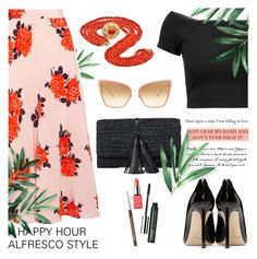 """""""Happy hour alfresco style"""" by jan31 ❤ liked on Polyvore featuring Ganni, Alice + Olivia, Jimmy Choo, Ralph Lauren, Clinique and Dita"""