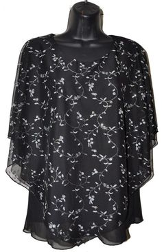Black with Silver Leaf Poncho Top Poncho Tops, Black Tops, Plus Size, Elegant, Blouse, Skirts, Pattern, Silver, Dresses