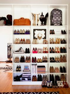 One of the most essential things at every home is a shoe storage. Here are some of the most creative and stylish shoe storage that can used at homes to safely store your shoes and make them look go… Closet Bedroom, Closet Space, Walk In Closet, Shoe Closet, Shoe Wardrobe, Shoe Room, Closet Wall, Bedroom Wall, Bag Closet