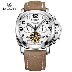 66.00$  Buy here - http://ali20d.worldwells.pw/go.php?t=32791599780 - MEGIR Official Luxury Men Military Sports Watches Men's Automatic Mechanical Clock Leather Wristwatch Skeleton Relojes Masculino 66.00$